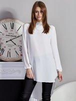 Biała koszulowa tunika z koronką                                  zdj.                                  1