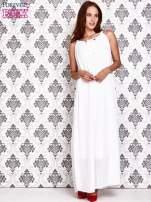 Biała sukienka maxi z wiązaniem przy dekolcie                                  zdj.                                  2