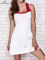 Biała sukienka sportowa z czerwonymi wstawkami                                                                          zdj.                                                                         1