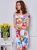 Biała sukienka w kolorowe kwiaty                                  zdj.                                  4