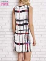 Biała sukienka w kratę ze wstawką z koronki                                                                          zdj.                                                                         4