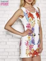 Biała sukienka z nadrukiem ptaków                                  zdj.                                  3