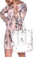 Biała torba w kwiaty ze wstawką crocodile skin                                  zdj.                                  3