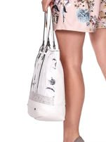 Biała torba w kwiaty ze wstawką crocodile skin                                  zdj.                                  4
