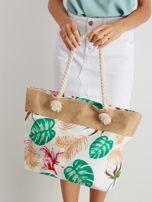 Biała torba z tropikalnym nadrukiem                                  zdj.                                  1