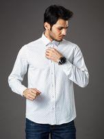 Biała wzorzysta koszula męska o prostym kroju                                   zdj.                                  1