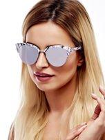 Biało-Czarne Marmurkowe Okulary Przeciwsłoneczne KOCIE OCZY                                   zdj.                                  3