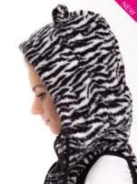 Biało-czarna kamizelka w tygrysie cętki z kapturem z uszkami