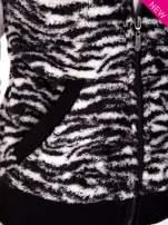 Biało-czarna kamizelka w tygrysie cętki z kapturem z uszkami                                   zdj.                                  7
