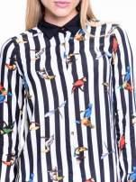 Biało-czarna pasiasta koszula w ptaszki