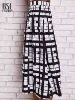 Biało-czarna spódnica maxi w kratę i geometryczne wzory                                                                          zdj.                                                                         4