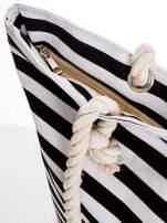 Biało-czarna torba plażowa w paski                                  zdj.                                  7