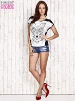 Biało-czarny t-shirt z wilkiem w azteckim stylu                                  zdj.                                  4