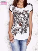 Biało-czarny t-shirt z zwierzęcymi motywami                                  zdj.                                  1