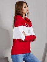 Biało-czerwona modułowa bluza damska z troczkami                                  zdj.                                  5