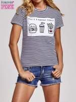 Biało-granatowy t-shirt w paski z motywem fast food                                                                          zdj.                                                                         1