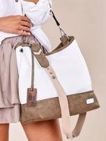 Biało-khaki torba miejska z eko skóry                                  zdj.                                  2