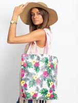 Biało-różowa torba w egzotyczne wzory                                  zdj.                                  7