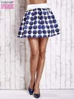 Białoniebieska rozkloszowana spódnica mini w kółka z kokardą                                  zdj.                                  2