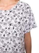 Biały luźny krótki t-shirt z kieszonką w nadruk oczu                                                                          zdj.                                                                         7