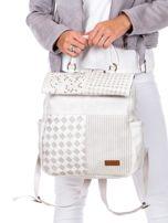 Biały plecak damski z eko skóry z plecionką i ażurowaniem                                  zdj.                                  4