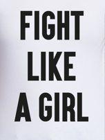 Biały t-shirt FIGHT LIKE A GIRL z nadrukiem                                  zdj.                                  2