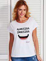 Biały t-shirt damski AGNIESZKA ŚMIESZKA by Markus P                                  zdj.                                  1