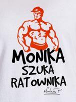 Biały t-shirt damski MONIKA SZUKA RATOWNIKA by Markus P                                  zdj.                                  2