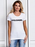 Biały t-shirt damski #POLISHGIRL z nadrukiem                                  zdj.                                  1
