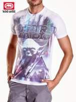 Biały t-shirt męski z napisem STAR WARS