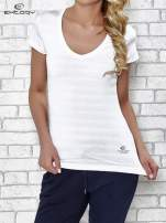 Biały t-shirt sportowy w paseczki                                  zdj.                                  1