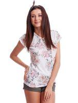 Biały t-shirt w malarskie kwiatowe desenie                                  zdj.                                  3