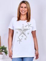 Biały t-shirt z błyszczącymi gwiazdami PLUS SIZE                                  zdj.                                  1