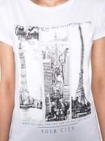 Biały t-shirt z fotografiami miast                                  zdj.                                  6