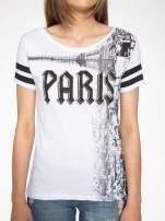 Biały t-shirt z motywem Paryża                                                                          zdj.                                                                         7