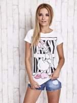 Biały t-shirt z nadrukiem DAISY                                                                          zdj.                                                                         3