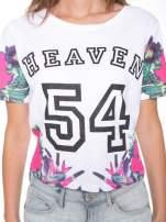 Biały t-shirt z nadrukiem HEAVEN 54 w stylu eclectic                                  zdj.                                  6