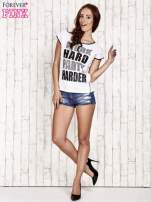 Biały t-shirt z napisem WORK HARD PARTY HARDER