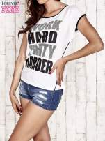 Biały t-shirt z napisem WORK HARD PARTY HARDER                                  zdj.                                  3