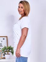 Biały t-shirt z perełkami PLUS SIZE                                  zdj.                                  5