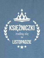 Bluza damska KSIĘŻNICZKA z nadrukiem niebieska                                  zdj.                                  2