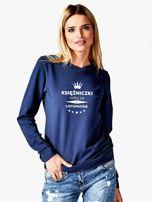 Bluza damska KSIĘŻNICZKI z nadrukiem korony granatowa                                  zdj.                                  1