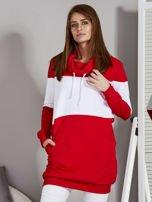 Bluza damska modułowa z luźnym kołnierzem biało-czerwona                                  zdj.                                  1