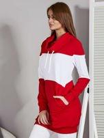 Bluza damska modułowa z luźnym kołnierzem biało-czerwona                                  zdj.                                  3