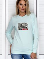Bluza damska patriotyczna z grafiką I LOVE POLAND miętowa                                  zdj.                                  1