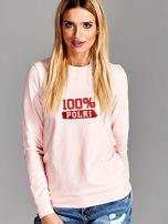 Bluza damska patriotyczna z nadrukiem 100% POLKI różowa                                  zdj.                                  1