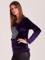 Bluza damska welurowa z błyszczącymi kamykami fioletowa                                  zdj.                                  2