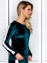 Bluza damska welurowa z jasnymi modułami ciemnozielona                                  zdj.                                  3