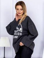 Bluza damska z górskim nadrukiem i szerokimi rękawami ciemnoszara                                  zdj.                                  5