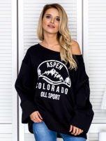 Bluza damska z górskim nadrukiem i szerokimi rękawami czarna                                  zdj.                                  1